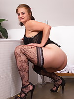 Horny housewife gitting ready to play