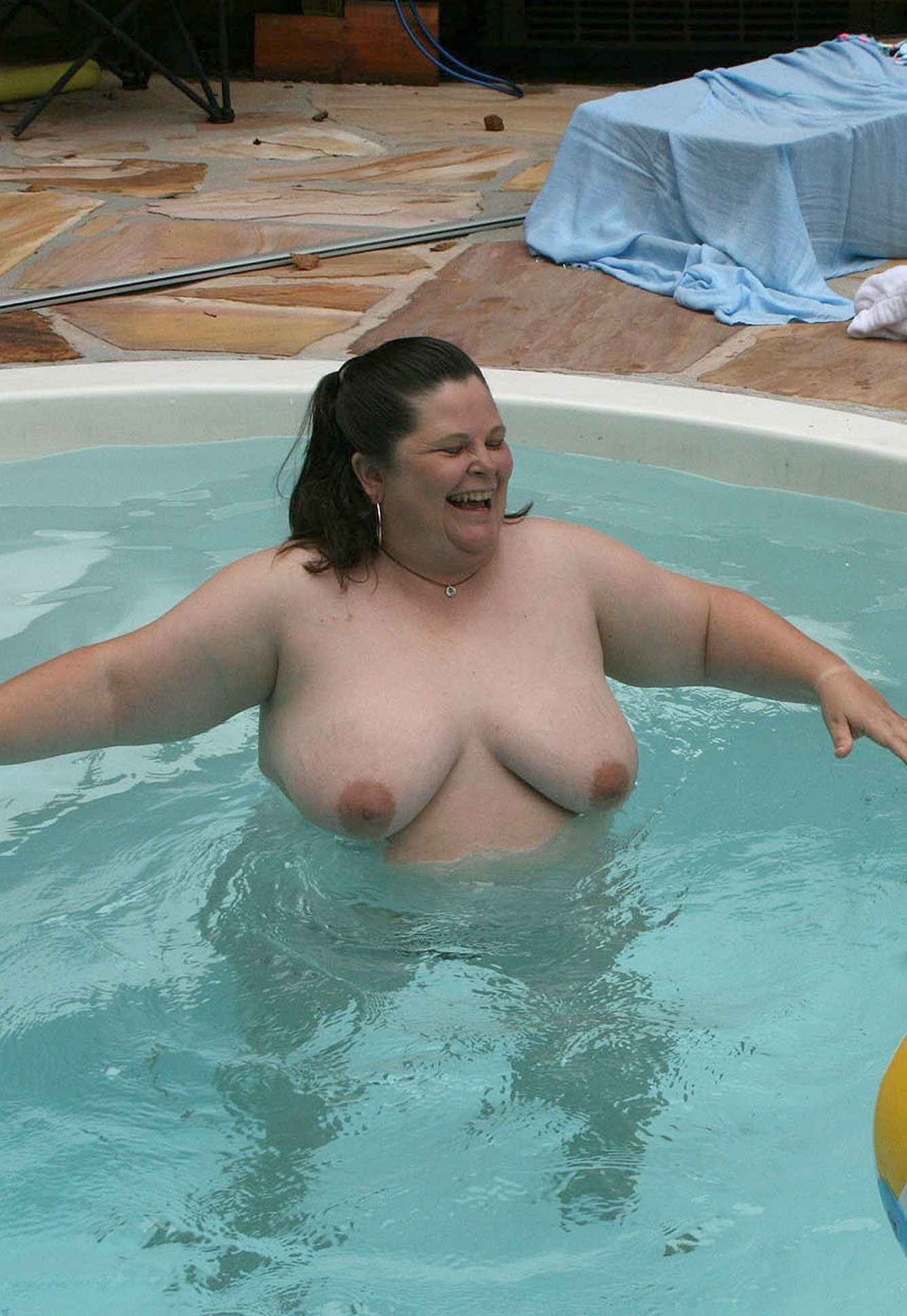 big fat women in a swimming pool