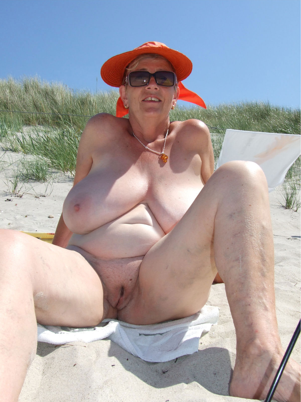 mature nudist dames with huge breasts - chubby naturists - granny public
